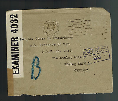 1944 London England Cover to American Prisoner of War POW Luft Stalag 1 GErmany