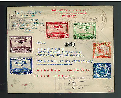 1932 El Salvador airmail cover to Hague Netherlands Multi Franked