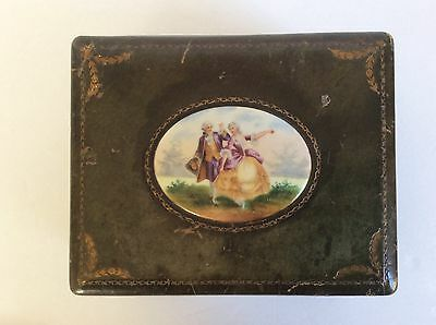 Antique Limoges Jewelry Box, Handpainted Porcelain Plaque & Green leather Box