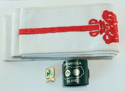 Lot/3 Boy Scouts Order of the Arrow Sash/Brownsea Island Slide/Be Prepared Pin