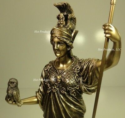ATHENA GODDESS OF WISDOM SPEAR OWL GREEK MYTHOLOGY Sculpture Statue Bronze Color