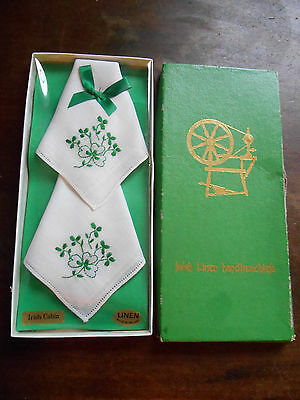 New Vintage Boxed Irish Linen White Shamrocks Green Handkerchiefs Ladies