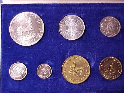 South Africa 7-Coin Proof Set 1964 Gem Nice In Case 5 Silver Coins Toned Beauty