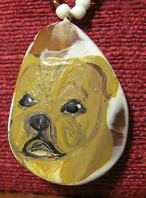 Staffordshire Bull Terrier hand painted on oval pendant/bead/necklace
