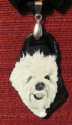 Old English Sheepdog hand painted on freeform Agate slice pendant/bead/necklace