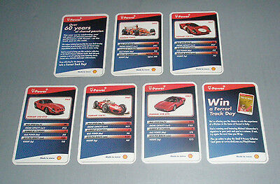 7 Pieces Shell V-Power FERRARI Cards - 4, 7, 13, 16, 21 & Accessory Cards