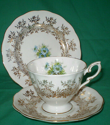 Royal Standard English Bone China  Cup, Saucer & Side Plate Trio~Gold Chintzy