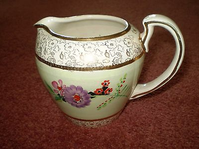 """Pretty 1930's Hand Painted Floral & Gold Lustre Staffordshire """" Lingard"""" Jug"""