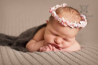 Handmade Pink Floral Halo Crown Tieback Newborn Baby Photography Photo Prop