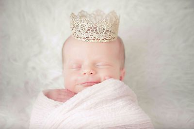 Gold Baby Crown Tiara - Perfect Photography Photo Prop, Newborn lace crown