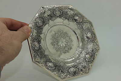 Antique Original Perfect 6 Pieces Full Silver Persian Plate Set