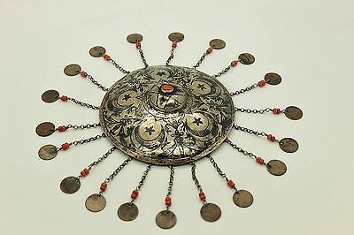 Antique Original  Ottoman Islamic Silver Niello Bridal Head Ornament Piece