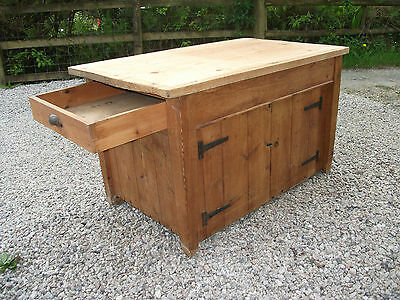 4' Antique Rustic Pine Low Kitchen Island Cupboard Drawer Unit Work Prep Table
