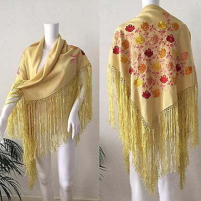 1920s 1930s Yellow Silk Floral Embroidered Fringed Piano Shawl Bohemian Vintage