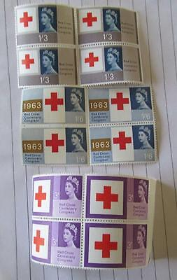 Great Britain Centenary of Red Cross 1963 Blocks of 4 Unmounted mint set