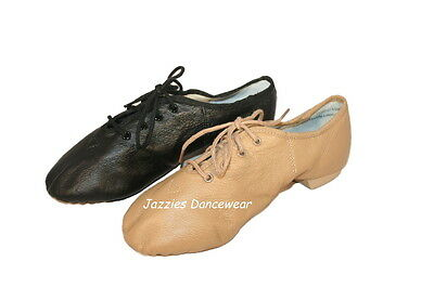 Boys/Girls Tan or Black Split Sole Jazz Lace Up Shoes NEW Sizes 10-4.5