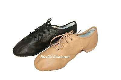 Girls Tan or Black Split Sole Jazz Lace Up Shoes Booties NEW Sizes 10-4.5