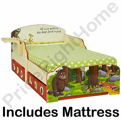 The Gruffalo Toddler Bed With Shelf & Storage + Mattress New