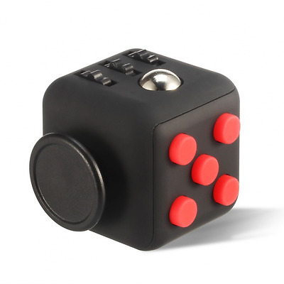 Fidget Clicker Cube w/ Rubber Finishing Relieve Stress Anxiety, Black Red