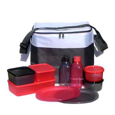 Tupperware Picnic For 2 Set Plates Bottles Keepers Insulated Bag Black Red NEW