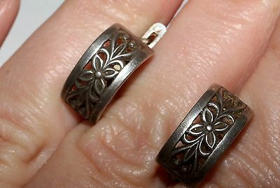 STUNNING Soviet USSR Vintage EARRINGS SILVER 875 USSR Antique
