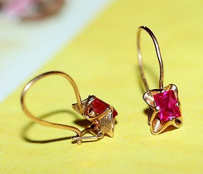 Last Century RED CORUNDUM GOLD 14K Earrings Stamp 585 ROYAL Ukrainian