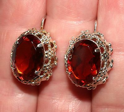 BEAUTY Orange RARE Vintage Earrings Silver 875 Soviet USSR Antique
