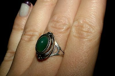 GORGEOUS Chrysoprase Vintage Ring Silver 875 USSR Soviet awesome!
