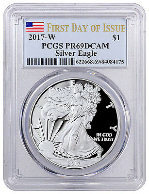 2017-W Proof American Silver Eagle PCGS PR69 DCAM FDI Flag Label SKU47039