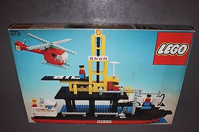 Lego 373 Offshore Rig with Fuel Tanker Oil Company Gas Station Shell Ship Harbor