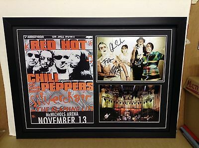 Red Hot Chili Peppers Hand Signed/Autographed Photograph with a poster and a COA