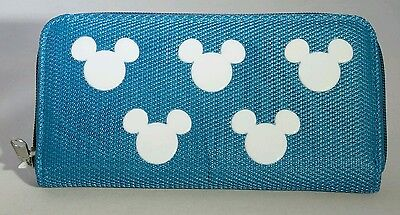 Turquoise Blue White MICKEY MOUSE Zippered Wallet DISNEY Park Exclusive Gift