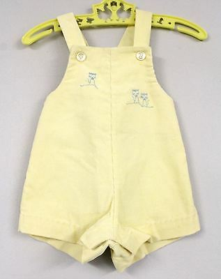 Vintage Infant Sunsuit 1950s Corduroy Yellow W Blue Kittens Healthtex Romper 9MO