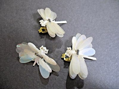 Vintage Estate Plastic/Lucite Dragonfly Clip Earring w/ Matching Pin Wings Move
