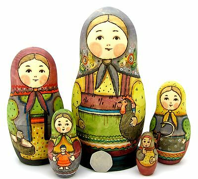 Genuine Russian nesting dolls 5 HAND PAINTED Matt Martryoshka RYABOVA signed ART