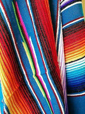 Mexican Serape Blanket 100% Authentic & Traditionally Handloomed 5x7ft Blue