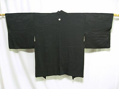 """Black Silk""  Vintage Japanese Woman's Haori Jacket for Kimono - Lining Options"