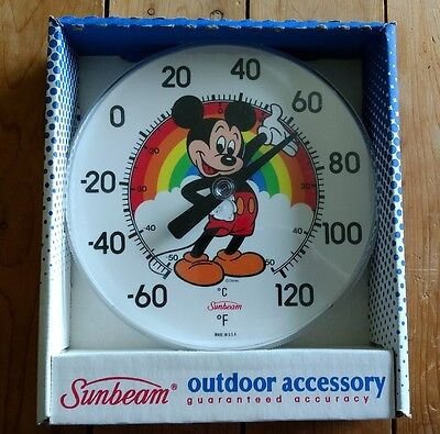 Mickey Mouse Outdoor Thermometer Sunbeam Temperature Gauge Disney Rainbow Sign