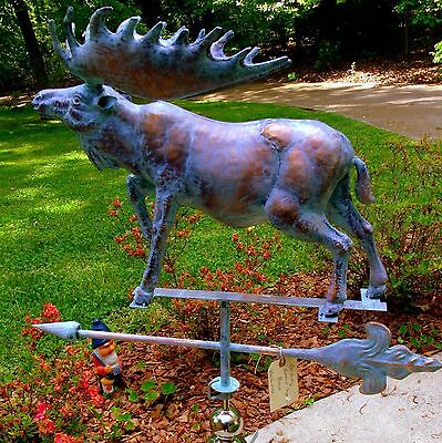 XLARGE Handcrafted 3Dimensional MOOSE Weathervane Copper Patina finish