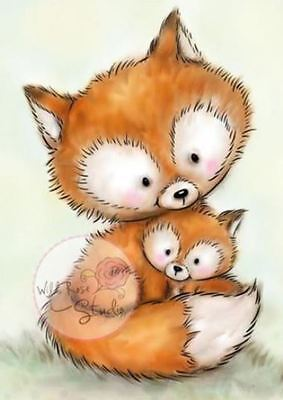 Wild Rose Studio - Clear Rubber Stamps - Mummy Fox & Baby - 492 - New Out