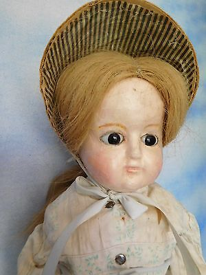 """23"""" German Wax Over Papier Mache Lady w/ Brown Glass Eyes Great Clothes"""