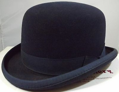 Modern Boxed Navy Blue Felt Riding Bowler Hat By Hartmeyer Saddlery Usa Size 7