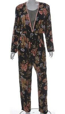 Vintage 80s 90s Floral Print Jumpsuit All in One Rayon Festival Indie Boho 12 14
