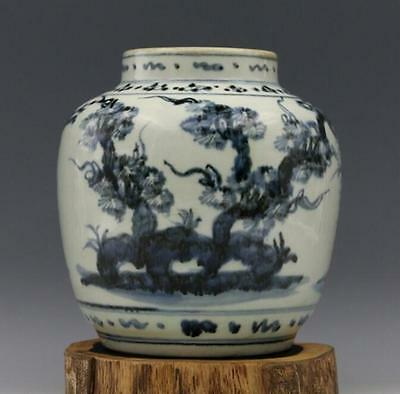 chinese ancient Blue and white porcelain sculpture tree jar
