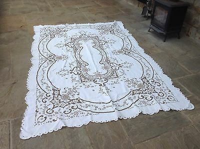 Vintage Stunning Hand Made Large Madeira Work Tablecloth Tag