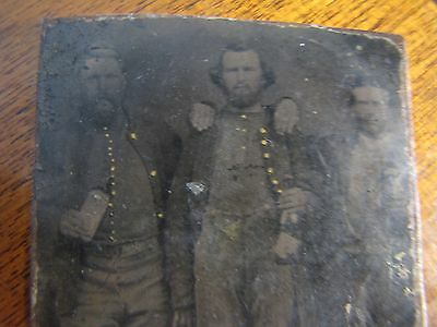 Rare Three Drunken Civil War Calvary ,in Patriotic Case Littlefield 1/6 Plate La