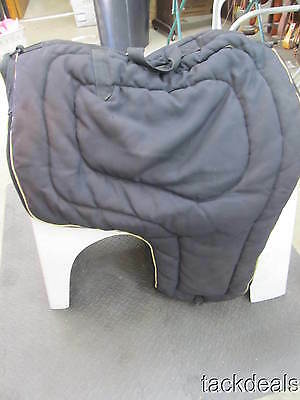 Heavy Quilted Black Zippered Show Saddle Carrier Bag Used