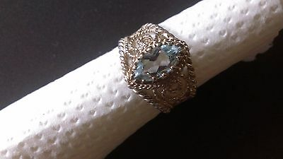 Preloved Filigree Signed SIlver Ring with Glittering Aquamarine Stone UK Size M