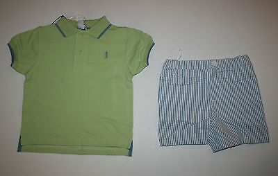 New Hartstrings Boys 2 Piece Outfit Handsome Polo Top & Seersucker Shorts 18M