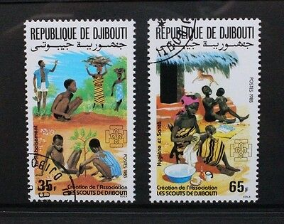 DJIBOUTI 1985 Foundation of Scouting Association. Set of 2. USED/CTO. SG953/954.